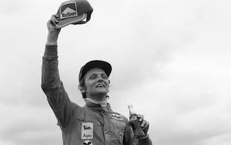 Niki Lauda, Ferrari 312B3-74, Grand Prix of Spain, Circuito del Jarama, 28 April 1974. Niki Lauda celebrating his first Formula One Grand Prix victory for Ferrari in the 1974 Spanish Grand Prix. (Photo by Bernard Cahier/Getty Images)