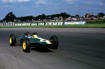 Jim Clark, Lotus 25 Coventry Climax, Grand Prix of Great Britain, Silverstone, 20 July 1963. (Photo by Bernard Cahier/Getty Images)