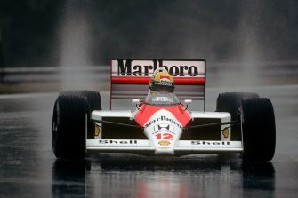 Ayrton Senna, McLaren-Honda MP4/4, Grand Prix of Hungary, Hungaroring, 07 August 1988. (Photo by Paul-Henri Cahier/Getty Images)