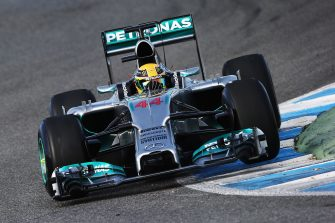 JEREZ DE LA FRONTERA, SPAIN - JANUARY 28:  Lewis Hamilton of Great Britain and Mercedes GP drives the new W05 during day one of Formula One Winter Testing at the Circuito de Jerez on January 28, 2014 in Jerez de la Frontera, Spain.  (Photo by Mark Thompson/Getty Images)