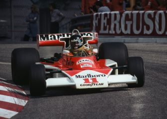 James Hunt of Great Britain drives the #11 Marlboro Team McLaren McLaren M23 Ford V8 during the Grand Prix of Monaco on 30 May 1976 on the streets of the Principality of Monaco in Monte Carlo, Monaco. (Photo by Tont Duffy/Getty Images)