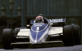 Nelson Piquet of Brazil drives the #1 Parmalat Racing Team Brabham BT50 BMW S4 turbo out of Casino Square during the Monaco Grand Prix on 23rd May 1982 on the streets of the Principality of Monaco in Monte Carlo, Monaco (Photo by Grand Prix Photo/Getty Images)