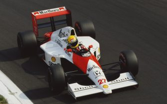 Ayrton Senna of Brazil drives the #27 Honda Marlboro McLaren McLaren MP4/5B Honda RA109E V10 during practice for the Italian Grand Prix on 8th September 1990 at the Autodromo Nazionale Monza near Monza, Italy. (Photo by Pascal Rondeau/Getty Images)