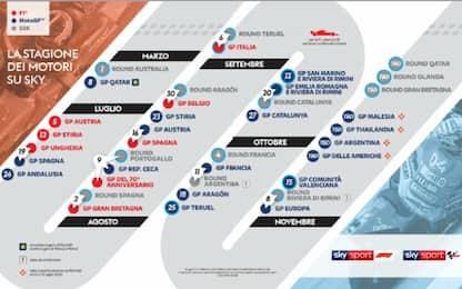 F1, MotoGP e SBK, motori no-stop su Sky: programma