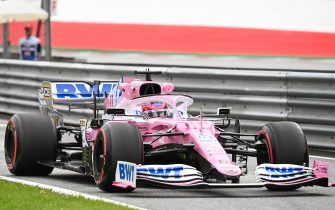 Racing Point's Mexican driver Sergio Perez steers his car during the first practice session at the Austrian Formula One Grand Prix on July 3, 2020 in Spielberg, Austria. - Seven months after they last competed in earnest, the Formula One circus will push a post-lockdown re-set button to open the 2020 season in Austria on July 5. (Photo by Joe Klamar / various sources / AFP) (Photo by JOE KLAMAR/POOL/AFP via Getty Images)
