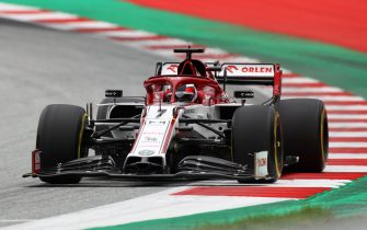 Alfa Romeo's Finnish driver Kimi Raikkonen steers his car during the first practice session at the Austrian Formula One Grand Prix on July 3, 2020 in Spielberg, Austria. - Seven months after they last competed in earnest, the Formula One circus will push a post-lockdown re-set button to open the 2020 season in Austria on July 5. (Photo by Mark Thompson / POOL / AFP) (Photo by MARK THOMPSON/POOL/AFP via Getty Images)