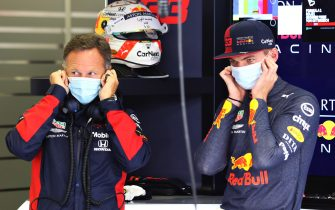 SPIELBERG, AUSTRIA - JULY 03: Max Verstappen of Netherlands and Red Bull Racing and Red Bull Racing Team Principal Christian Horner look on in the garage during practice for the F1 Grand Prix of Austria at Red Bull Ring on July 03, 2020 in Spielberg, Austria. (Photo by Getty Images/Getty Images)