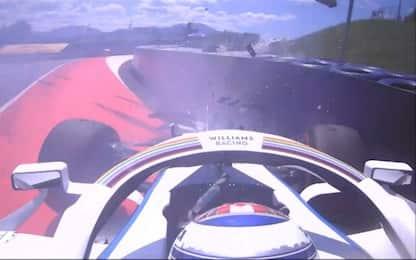 Latifi a muro, primo crash del Mondiale. VIDEO