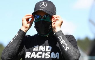 Mercedes' British driver Lewis Hamilton is seen prior to the Austrian Formula One Grand Prix race on July 5, 2020 in Spielberg, Austria. (Photo by Mark Thompson / various sources / AFP) (Photo by MARK THOMPSON/POOL/AFP via Getty Images)
