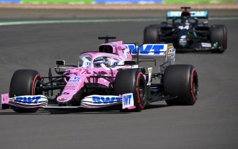 SILVERSTONE, UNITED KINGDOM - JULY 31: Nico Hulkenberg, Racing Point RP20, leads Lewis Hamilton, Mercedes F1 W11 EQ Performance during the British GP at Silverstone on Friday July 31, 2020 in Northamptonshire, United Kingdom. (Photo by Mark Sutton / Sutton Images)