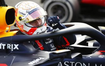 SILVERSTONE, UNITED KINGDOM - AUGUST 02: Max Verstappen, Red Bull Racing, exits his car in parc ferme during the British GP at Silverstone on Sunday August 02, 2020 in Northamptonshire, United Kingdom. (Photo by Andy Hone / LAT Images)