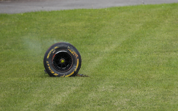 SPA-FRANCORCHAMPS, BELGIUM - AUGUST 30: Tyre of Antonio Giovinazzi, Alfa Romeo Racing C39, after a collision with the barrier during the Belgian GP at Spa-Francorchamps on Sunday August 30, 2020 in Spa, Belgium. (Photo by Zak Mauger / LAT Images)