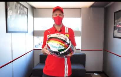Vettel, ultimo GP a Monza con la Rossa: il casco
