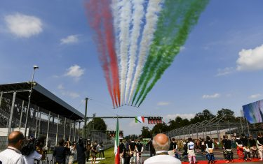 AUTODROMO NAZIONALE MONZA, ITALY - SEPTEMBER 06: Frecce Tricolori fly over the grid prior to the start in their Aermacchi MB339A jet trainers during the Italian GP at Autodromo Nazionale Monza on Sunday September 06, 2020 in Monza, Italy. (Photo by Mark Sutton / Sutton Images)