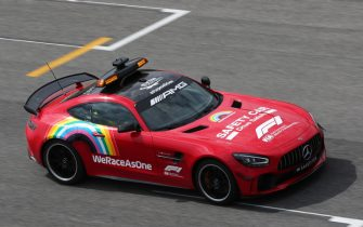 MUGELLO CIRCUIT, ITALY - SEPTEMBER 10: The Mercedes safety car is painted red in tribute to Ferrari's 1000th race during the Tuscany GP at Mugello Circuit on Thursday September 10, 2020, Italy. (Photo by Charles Coates / LAT Images)