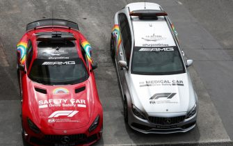 MUGELLO CIRCUIT, ITALY - SEPTEMBER 10: The Mercedes safety car and medical car during the Tuscany GP at Mugello Circuit on Thursday September 10, 2020, Italy. (Photo by Charles Coates / LAT Images)