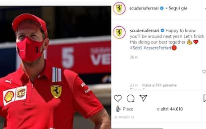 """La Ferrari a Vettel: """"Felici, chiudiamo al meglio"""""""