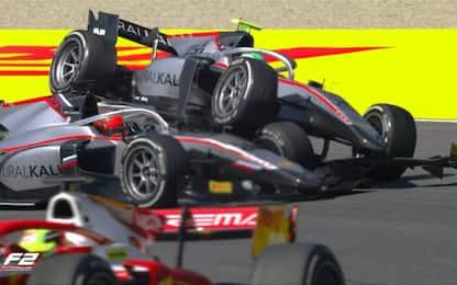 Ghiotto-Mazepin, uno sopra l'altro: crash in F2