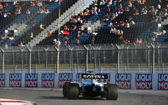 SOCHI, RUSSIA - SEPTEMBER 25: Nicholas Latifi of Canada driving the (6) Williams Racing FW43 Mercedes drives on track as Fans watch the action during qualifying ahead of the Formula 2 Championship at Sochi Autodrom on September 25, 2020 in Sochi, Russia. (Photo by Kirill Kudryavtsev - Pool/Getty Images)