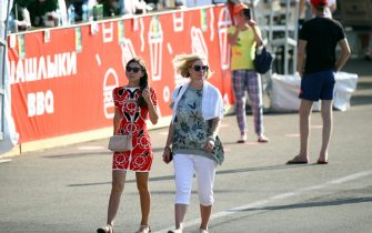 SOCHI, RUSSIA - SEPTEMBER 25: Fans walk around the circuit during practice ahead of the F1 Grand Prix of Russia at Sochi Autodrom on September 25, 2020 in Sochi, Russia. (Photo by Bryn Lennon/Getty Images)