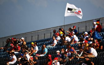 SOCHI, RUSSIA - SEPTEMBER 25: Fans watch the action during qualifying ahead of the Formula 2 Championship at Sochi Autodrom on September 25, 2020 in Sochi, Russia. (Photo by Bryn Lennon/Getty Images)