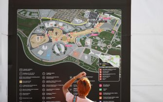 SOCHI, RUSSIA - SEPTEMBER 25: A fan looks at a circuit map during practice ahead of the F1 Grand Prix of Russia at Sochi Autodrom on September 25, 2020 in Sochi, Russia. (Photo by Bryn Lennon/Getty Images)
