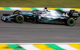 epa08004744 British Lewis Hamilton of Mercedes in action during the Brazilian Formula One Grand Prix at the Interlagos circuit in Sao Paulo, Brazil, 17 November 2019. Hamilton was sanctioned for a collision with Thai Alexander Albon of Red Bull, moving Spanish Carlos Sainz of McLaren to third place.  EPA/Marcelo Machado De Melo
