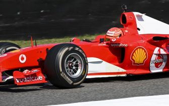 MUGELLO CIRCUIT, ITALY - SEPTEMBER 13: Mick Schumacher drives his father's championship winning Ferrari F2004 on a demo run celebrating ferrari's 1000th Grand Prix during the Tuscany GP at Mugello Circuit on September 13, 2020 in Mugello Circuit, Italy. (Photo by Mark Sutton / Sutton Images)
