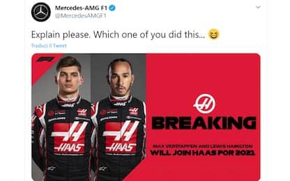 """Mercedes, scherzo social: """"Max e Hamilton in Haas"""""""