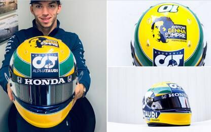 Gasly, casco speciale a Imola per Senna. FOTO
