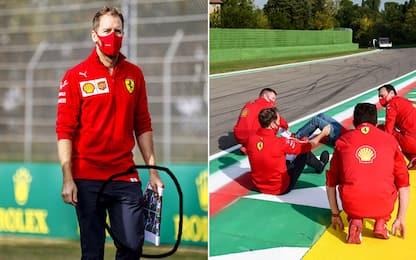 Vettel studia Imola: seduto in pista e foto!