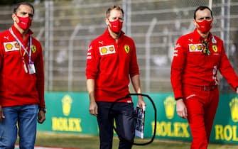 IMOLA, ITALY - OCTOBER 30: Sebastian Vettel, Ferrari, walks the track with Ferrari team mates during the Emilia-Romagna GP at Imola on Friday October 30, 2020, Italy. (Photo by Andy Hone)