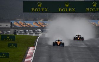 ISTANBUL PARK, TURKEY - NOVEMBER 14: Lando Norris, McLaren MCL35, leads Max Verstappen, Red Bull Racing RB16 during the Turkish GP at Istanbul Park on Saturday November 14, 2020, Turkey. (Photo by Mark Sutton / Sutton Images)