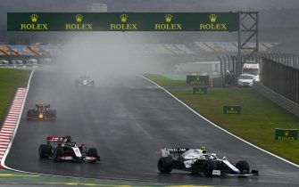 ISTANBUL PARK, TURKEY - NOVEMBER 14: Nicholas Latifi, Williams FW43, leads Romain Grosjean, Haas VF-20, and Alexander Albon, Red Bull Racing RB16 during the Turkish GP at Istanbul Park on Saturday November 14, 2020, Turkey. (Photo by Mark Sutton / Sutton Images)