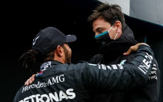 ISTANBUL PARK, TURKEY - NOVEMBER 15: Lewis Hamilton, Mercedes-AMG Petronas F1, 1st position, and Toto Wolff, Executive Director (Business), Mercedes AMG, celebrate another succesful drivers campaign in Parc Ferme during the Turkish GP at Istanbul Park on Sunday November 15, 2020, Turkey. (Photo by Steven Tee / LAT Images)