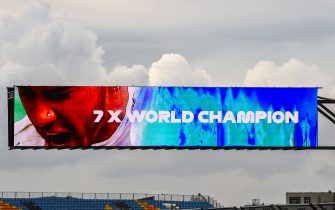 ISTANBUL PARK, TURKEY - NOVEMBER 15: An electronic sign celebrating Lewis Hamilton, Mercedes-AMG Petronas F1 winning his 7th World Championship title during the Turkish GP at Istanbul Park on Sunday November 15, 2020, Turkey. (Photo by Mark Sutton / Sutton Images)