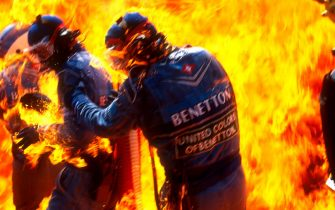 1994 German Grand Prix. Hockenheim, Germany. 29th - 31st July 1994. Jos Verstappen (Benetton B194 Ford), retired, came in for his pitstop. As the Refueller pulled the fuel hose away the valve stuck open allowing fuel to still come out of the nozzle and over the car which ignited into a huge fireball. World Copyright: Steven Tee / LAT Photographic. Ref: 94 GER C.