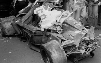 Niki Lauda, Ferrari 312T2, Grand Prix of Germany, Nurburgring, 01 August 1976. The remnants of Niki Lauda's Ferrari after the accident that nearly cost him his life. (Photo by Bernard Cahier/Getty Images)