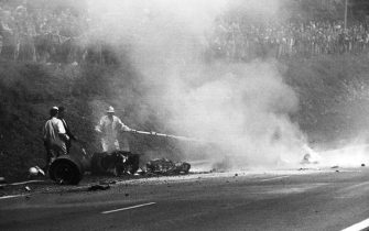 Jo Schlesser, Honda RA302, Grand Prix of France, Rouen-Les-Essarts, 07 July 1968. The awful accident of Jo Schlesser, who lost his life in the French Grand Prix in Rouen in 1968. (Photo by Paul-Henri Cahier/Getty Images)