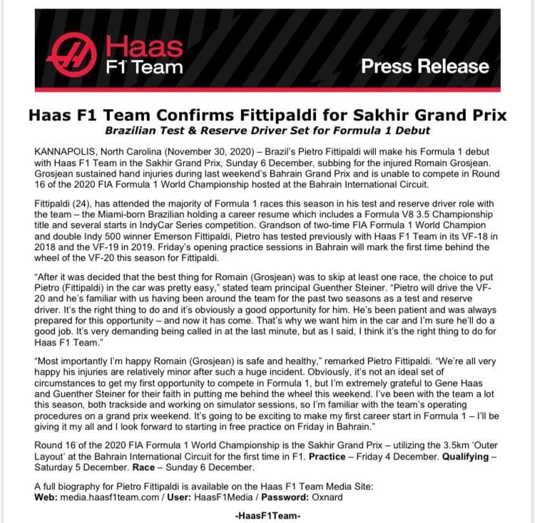 Haas, il comunicato ufficiale