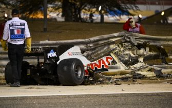 BAHRAIN INTERNATIONAL CIRCUIT, BAHRAIN - NOVEMBER 29: The wreckage of the car of Romain Grosjean, Haas VF-20, after his huge crash on the opening lap during the Bahrain GP at Bahrain International Circuit on Sunday November 29, 2020 in Sakhir, Bahrain. (Photo by Mark Sutton / Sutton Images)
