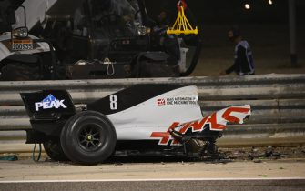 BAHRAIN INTERNATIONAL CIRCUIT, BAHRAIN - NOVEMBER 29: The wrecked car of Romain Grosjean, Haas VF-20, after a big crash on the opening lap during the Bahrain GP at Bahrain International Circuit on Sunday November 29, 2020 in Sakhir, Bahrain. (Photo by Mark Sutton / Sutton Images)