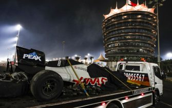 BAHRAIN INTERNATIONAL CIRCUIT, BAHRAIN - NOVEMBER 29: The remains of Romain Grosjean's Haas VF-20 on the back of a truck during the Bahrain GP at Bahrain International Circuit on Sunday November 29, 2020 in Sakhir, Bahrain. (Photo by Charles Coates / LAT Images)
