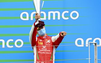HUNGARORING, HUNGARY - JULY 19: Mick Schumacher (DEU, PREMA RACING) on the podium with the trophy at Hungaroring on Sunday July 19, 2020 in Budapest, Hungary. (Photo by Mark Sutton / Sutton Images)