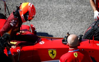 MUGELLO CIRCUIT, ITALY - SEPTEMBER 13: Mick Schumacher climbs in to his father's championship winning Ferrari F2004 during the Tuscany GP at Mugello Circuit on September 13, 2020 in Mugello Circuit, Italy. (Photo by Andy Hone / LAT Images)