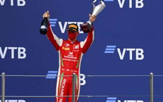 SOCHI AUTODROM, RUSSIAN FEDERATION - SEPTEMBER 26: Race Winner Mick Schumacher (DEU, PREMA RACING) celebrates on the podium with the champagne and the trophy at Sochi Autodrom on Saturday September 26, 2020 in Sochi, Russian Federation. (Photo by Mark Sutton / Sutton Images)