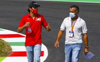 MUGELLO CIRCUIT, ITALY - SEPTEMBER 10: Giuliano Alesi (FRA, BWT HWA RACELAB) and Jean Alesi walks the track at Mugello Circuit on Thursday September 10, 2020, Italy. (Photo by Mark Sutton / Sutton Images)