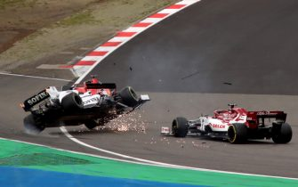 NüRBURGRING, GERMANY - OCTOBER 11: George Russell, Williams FW43, is aunched into the air after contact with Kimi Raikkonen, Alfa Romeo Racing C39. Raikkonen received a time penalty for causing the incident. Credit: Herve Tusoli/Motorsport Images during the Eifel GP at Nürburgring on October 11, 2020 in Nürburgring, Germany. (Photo by Herve Tusoli / LAT Images)