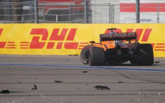 McLaren's Spanish driver Carlos Sainz Jr crashes during the Formula One Russian Grand Prix at the Sochi Autodrom Circuit in Sochi on September 27, 2020. (Photo by MAXIM SHEMETOV / POOL / AFP) (Photo by MAXIM SHEMETOV/POOL/AFP via Getty Images)