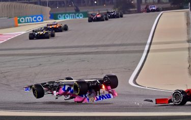 Racing Point's Canadian driver Lance Stroll crashes during the Bahrain Formula One Grand Prix at the Bahrain International Circuit in the city of Sakhir on November 29, 2020. (Photo by Giuseppe CACACE / POOL / AFP) (Photo by GIUSEPPE CACACE/POOL/AFP via Getty Images)